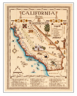 Missions In Southern California Map.Map Kits Catherine S Designs